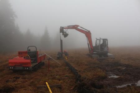 Mit dem Moorbagger (rechts) werden die Spundwandelemente in den Moorkörper getrieben, der Moordumper (links) ist zum Transport der Bauteile. Wenn alle Spundwandelement eingebracht sind werden diese noch mit Torf und Vegetationssoden überdeckt