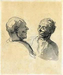 Honoré Daumier, Zwei Köpfe lachender Männer ohne Jahr, Privatbesitz