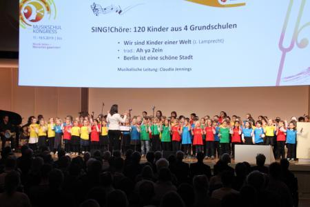 Sing!Chöre mit 120 Kindern aus 120 Berliner Grundschulen; Bildungsprogramm SING! des Rundfunkchores Berlin: Eröffnung des 25. Musikschulkongresses am 17. Mai 2019 in Berlin / Foto: VdM/Heiderich