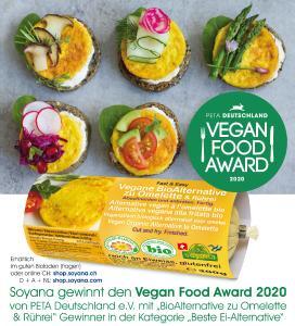 "Schweizer Vegan-BioPionier Soyana gewinnt PETA-Award 2020: ""Beste Ei-Alternative"""