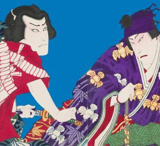 Ausschnitt eines Farbholzschnitts Szene aus dem Kabuki Stück Meiboku Sendai Hagi (c) Übersee Museum Bremen, Foto: Matthias Haase