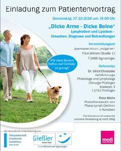Patientenvortrag zum Thema Lymph- und Lipödem am Donnerstag, den 27. Oktober in Sigmaringen