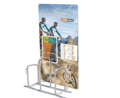 bike-energy Ladestation POINT P4B + Rückwandplatte + Fahrradständer (Gigasport)