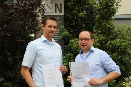 v.l.: Normen Haas und Tobias Güthinger haben von dem Rheinland-Pfalz-Zertifikat für Hochschuldidaktik nur profitiert, Foto: Hochschule Worms