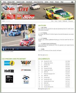 Legende: Erstmalig wird das 24h-Rennen am Nürburgring live im Internet übertragen. Für höchste Übertragungsqualität sorgt die Kooperation des Produzenten WIGE MEDIA mit dem Münchener Multimedia-Dienstleister BTD Newmedia. Urheber: WIGE MEDIA AG