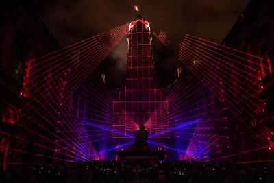 "tarm Showlaser thrilled with the laser-performance TRICOLORE at the Festival of Lights ""Fête des Lumières 2018"" in Lyon"