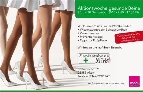 Vom 26. bis zum 30. September findet im Sanitätshaus am Markt in Aken eine Aktionswoche zum Thema gesunde Beine statt