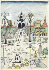 Saul Steinberg/Wilshire & Lex, 1994/Wachskreide, Aquarell und Wachs auf Papier, 56,5 x 38,7 cm/Sammlung Milly und Arne Glimcher/© The Saul Steinberg Foundation/Artists Rights Society (ARS)/ProLitteris, Zürich