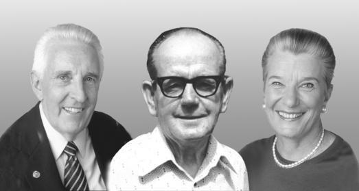 Der Lehrer und seine Schüler: Tom Bowen (m.) unterrichtete Oswald (l.) und Elaine Rentsch in den 1970er Jahren in der von ihm entwickelten Bowen Technik.  (Fotomontage/Bildnachweis: BOWTECH Deutschland e. V./Rentsch)