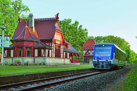 RB63 der Niederbarnimer Eisenbahn am Kaiserbahnhof Joachimsthal (Foto: C. Bedeschinski/NEB)
