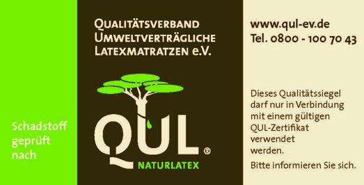 QUL Matratzenaufkleber kennzeichnen die nach strengen Kriterien getesteten Naturmatratzen der QUL_Mitglieder_Quelle QUL eV