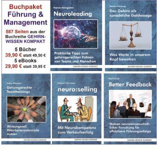 Buchpaket zu Führung, Feedback, Kommunikation, Teamarbeit und Verkauf aus der Buchreihe GEHIRN-WISSEN KOMPAKT