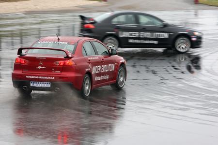 Uwe Nittel im Lancer Evolution beim der 24-h Stunden Drift-Weltrekord auf dem Sachsenring im Jahr 2012
