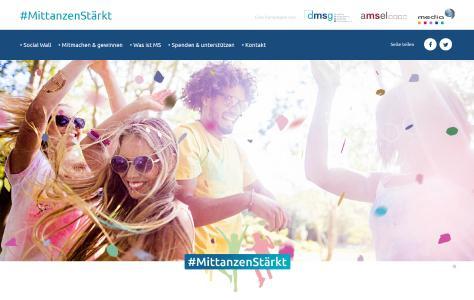 Screenshot der Tanzkampagne MittanzenStärkt von www.amsel.de/mittanzenstaerkt