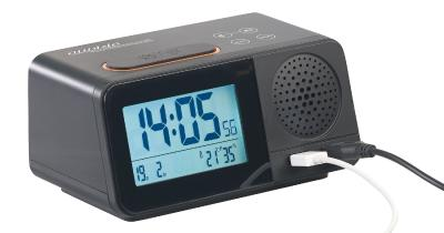 auvisio Funk-Radiowecker mit 2 Weckzeiten, Hygro- & Thermometer, 2x USB, 2 A / Bild: PEARL. GmbH / www.pearl.de