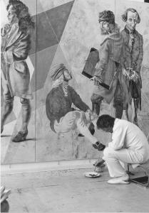 Hans Erni bei der Arbeit am Wandbild Panta rhei, 1978