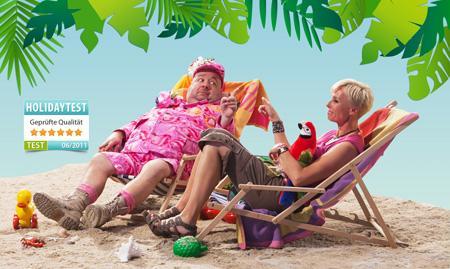Holidaytest.de: Neue TV-Werbespots mit Fernsehstars Sonja Zietlow und Dirk Bach für Hotel-Bewertungsportal