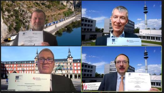 Screanshot von der Unterzeichnung der Verträge mit Bernd Hullerum (o.l.), Vorsitzender des Schulvorstandes der FEDA Madrid, und FEDA-Schulleiter Ingo Winter auf der linken Bildseite sowie Prof. Dr. Joachim Schmidt (o.r.), Studiengangleitung dualer Bachelor Logistik, sowie Hochschulpräsident Prof. Dr. Peter Mudra auf der rechten Bildseite (Bild: HWG LU)