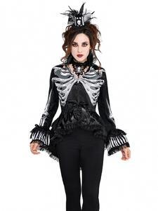 Gothic Skelett Damen-Jacke Rüschen und Spitze