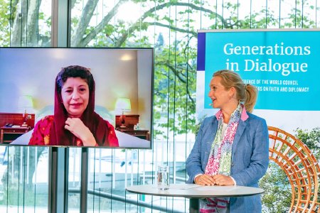 "Generalsekretärin Prof. Azza Karam (li.) und Lindaus Oberbürgermeisterin Dr. Claudia Alfons bei der Pressekonferenz zu ""Generationen im Dialog"" © Foto: Ring for Peace"