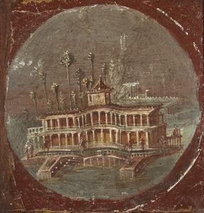 Ansicht einer phantasievollen Meeresvilla(Wandmalerei)