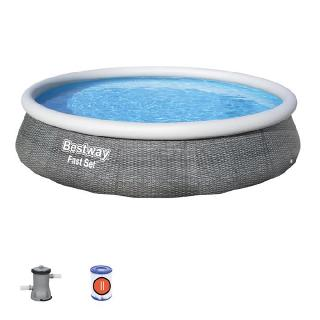 Bestway® Fast Set™ Pools in grauer Rattanoptik