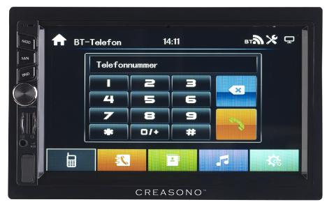 PX 2336 10 Creasono 2 DIN MP3 Autoradio mit Touchdisplay. Bluetooth und Freisprecher