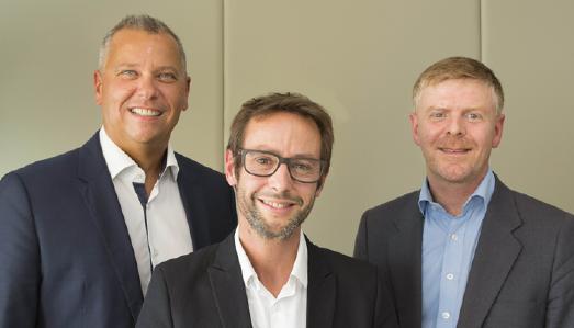 Das neue Führungsteam: Namen von l.n.r.: Erhard Paulat & Pascal Brasseur, Deputy CEO & Alexandre Sorel, CEO of the new organization