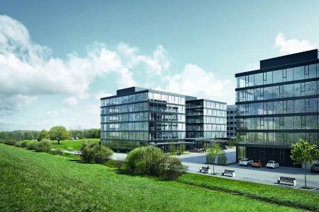 Blick auf die Bürogebäude des Kokon Corporate Campus