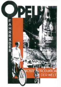Erfolgsepoche: Opel wirbt 1927 für die eigene Fahrradproduktion – damals die größte der Welt