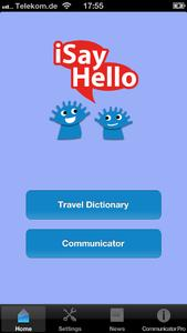 Home Screen iSayHello Communicator