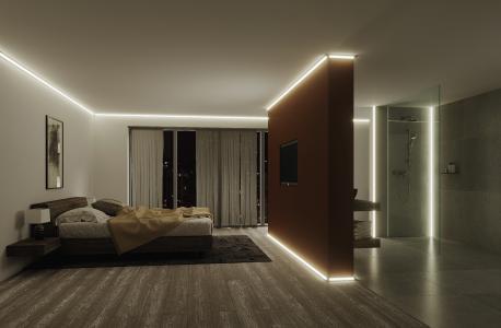 Mit Schlüter-LIPROTEC-LLE können Wandinnen- und Außenecken mit einer attraktiven Akzentbeleuchtung versehen werden.