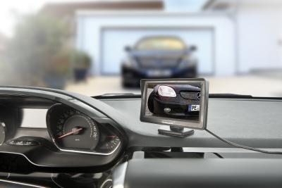 PX 4146 8 Lescars Farb Rückfahrkamera im Nummernschildhalter m  Monitor und Abstandswarner