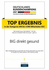Auszeichnung zu Deutschlands Kundenchampion 2021