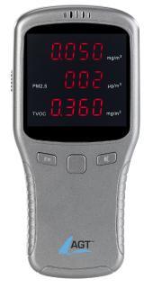 AGT 5in1-Akku-Feinstaub-Messgerät für HCHO, PM1/2,5/10 und TVOC