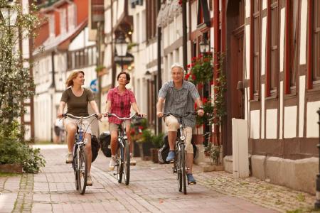 Radfahrer unterwegs in der Rattenfängerstadt Hameln