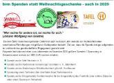 Die bvm Bartz Versicherungsmakler GmbH spendete in 2020 in der Aktion Spenden statt Weihnachtsgeschenke an die Tafel Herxheim e. V., den Förderverein Kinderhospiz Sterntaler e.V., das Kinderhospiz Mitteldeutschland, den Robin Hood Tierheimservice und die Ortsgemeinde Herxheimweyher.