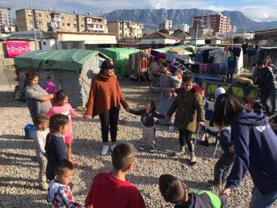 Obdachlose Roma in Fushë-Kruja