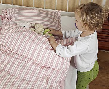 TrueStuff Biobettwäsche für Kinder in kbA Baumwolle - Dessin Milkman Stripe Red
