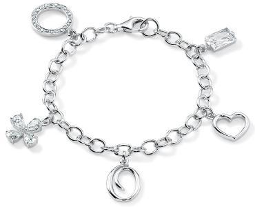 Armband  mit Charms | 19 cm, Sterling Silber 925, rhodiniert, nickelfrei, Zirkonia synth. | 69,95 Euro
