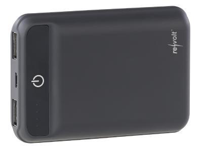 ZX 2819 1 revolt Powerbank im Kreditkartenformat 10.000 mAh 2 USB Ports 2.4 A 12 W