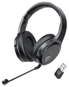 auvisio Digitales Funk-Headset GHS-515.air mit abnehmbarem Mikrofon, 8 Std. Laufzeit, USB