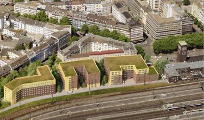 """Ansicht des Hotel-Ensembles als Luftbild von der Bahnhofseite aus (Foto-Credit: """"greeen! architects"""")"""