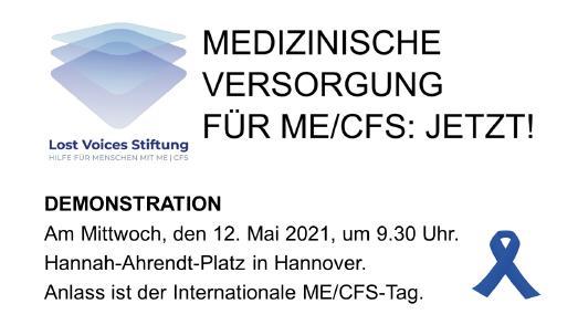 Die Lost Voices Stiftung demonstriert am 12. Mai mit dem globalen Aktionsbündnis #MillionsMissing in Hannover für eine adäquate medizinische Versorgung von Menschen mit Myalgische Enzephalomyelitis/ Chronisches Fatigue Syndrom (ME/CFS).