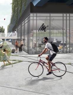 """Ein Bild der Ausstellung aus dem Projekt """"UnterBrücken/ÜberBrücken für die Airportstadt"""", das die Unterbauung der Autobahnbrücke vorsieht"""