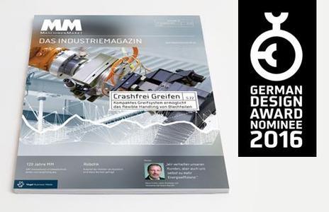 Das Industriemagazin MM MaschinenMarkt wurde für den German Design Award 2016 nominiert (Foto: jo's Büro für Gestaltung)