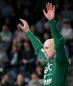 """HC-Keeper Gorazd Skof """"vernagelte"""" in den letzten zehn Minuten sein Tor, Foto: HJKrieg, Erlangen"""