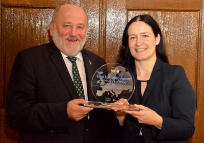 Freuen sich über den European Filmlocation Award: OB Siegfried Deinege und EGZ-Geschäftsführerin Andrea Behr / Quelle: Stadtverwaltung Görlitz