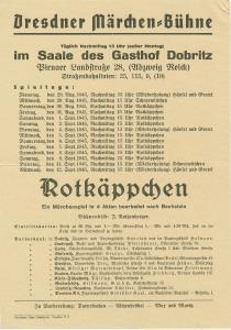 Programm der Dresdner Märchen-Bühne für Rotkäppchen-Aufführungen, 1945. Foto: Stadtmuseum Dresden