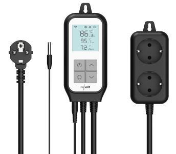 revolt WLAN-Steckdosen-Thermostat für 2 Geräte, Sensor, App, Sprachsteuerung